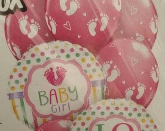 Baby Girl balloon bouquet, mix of foil & latex balloons, its a girl balloons, pink its a girl balloons, 2 x foil balloons, 5 x latex balloon