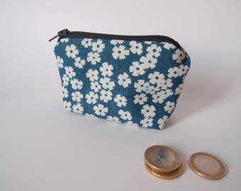 Porte-monnaie - bleu jean à fleurs blanches - motif fleuri - porte monnaie