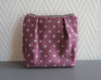Small pouch in printed cotton lined with front pleats