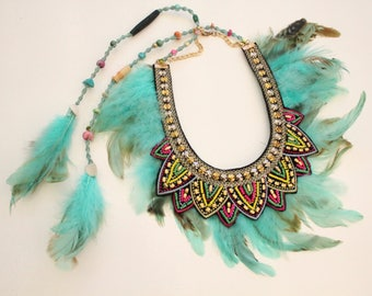 Light turquoise tribal feather macrame necklace