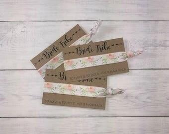 Bride Tribe Hair Ties Bachelorette Party Favors Peach Floral Watercolor Mint Bridesmaid Hair Tie Bridal Shower Thank You Gift Beach Wedding