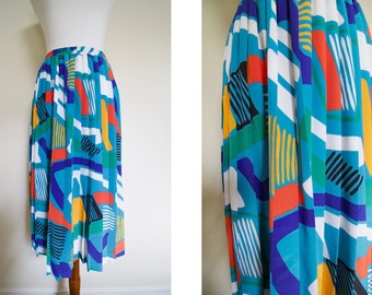 Vintage 1980's Andrea Gayle Petites Geometric Shape Fun Colorful Multicolored Abstract Pleated Elastic Skirt / 80's Bright Statement Skirt