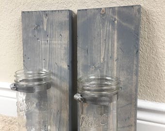 Mason Jar Wall Sconce in Grey Stain (set of 2)-Rustic-Wood-Wall Decor-Farmhouse Style-Barnwood Style-Wall Gallery-Signs-Art-Southern-Mason