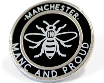 Manchester Manc and Proud Pin Badge - Hard Enamel Nickel Free Metal Brooch - Manchester Bee Black Madchester Hacienda Monochrome Northern