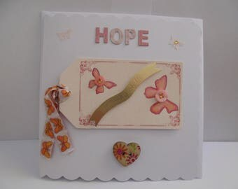 Hand Made Hope/Thinking of You Card, Hand Painted, Butterflies, Orange/Cream, Heart