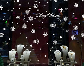TOTOMO #W307 Snowflake Christmas Window Decals Sticker Decor Clings Wall Decoration