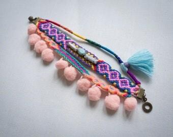 Colorful Woven Friendship Bracelet with Tassel and Pom poms, Tribal Bracelet, Pom poms Bracelet, Woven Bracelet