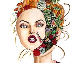 FLOWER POWER3,Art Print,Marker,Fashion Wall Art,Holiday Card,Home Decor,Fashion illustration,Digital Print,Fashion Clipart,Vogue,Modern Art