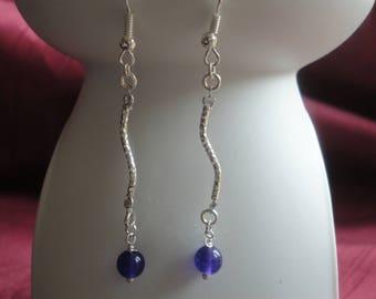 Amethyst Semi Precious Gemstone Wave Dangle Drop Earrings - E130