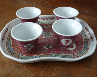 Vintage Chinese Sake Cups and Tray