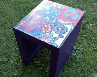 Hand painted recycled coffee table end table hippy bohemian