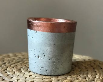 Copper Trim Concrete Planter