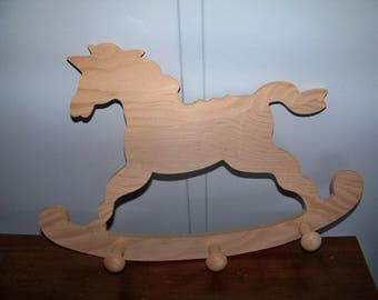 Wall Hanging Horse with Pegs Ready to Paint