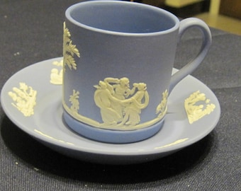 Blue 1956 Wedgewood Demi Cup & Saucer - Perfect