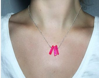 Hot Pink Crystal Quartz Necklace, Sterling Silver Chain Necklace