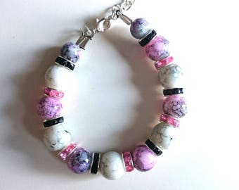 Pretty purple, pink and grey cracked bead bracelet
