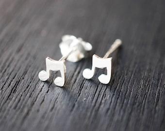 Music earrings stud, Eighth Note Earrings, Note Earrings, Eighth Note Earrings, 8th Note Studs, Music Jewelry, Music Note Earrings STSM028