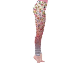Yoga leggings, workout leggings, printed leggings, festival clothing, hula hoop clothing, aerial, wide waistband, long leggings, floral