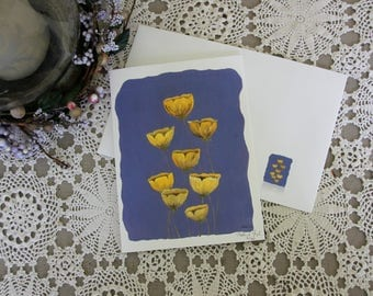 Buttercups - Limited Hand Signed Print and Greeting Card, Original Painting