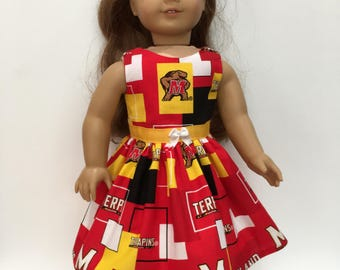 18 Inch Doll Clothes University of Maryland Dress With Terps and Optional Red Maryjanes With Bows  Fits Like American Girl Doll Clothes