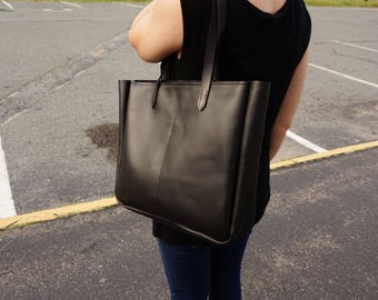 leather tote bag with zipper-leather tote -leather laptop- leather bag-black leather tote bag with zipper-black leather tote-leather bag.