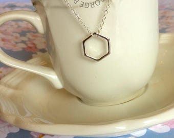 Hexagon Necklace, Gold or Silver Necklace, Geometric Necklace, Hexagon, Gold, Silver, Pendant Necklace, Charm Necklace