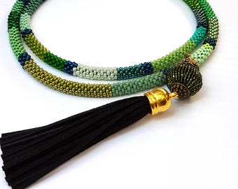 funky Colorful Necklace African beading Jewelry Mothers day gift snace mix color necklace fashion Ethnic necklace long necklace beads green