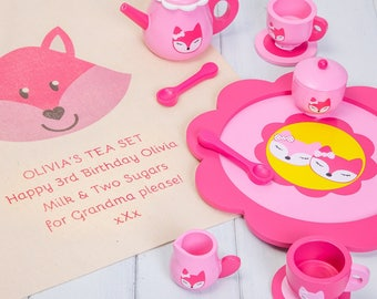 Personalised Pink Fox Tea Set