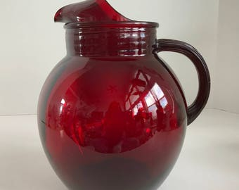 Vintage Anchor Hocking Royal Ruby Red Glass Water Pitcher