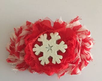 Candy cane glitter snow flake hair clip
