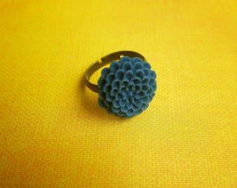 Blue Flower Adjustable Ring - The Hidden Bin