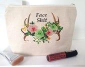 Fair Trade Pouch, Organic Cotton Makeup Bag, Large Makeup Bag, Boho Makeup Bag, Makeup Bag, Modern Makeup Bag, Feminist Makeup Bag,