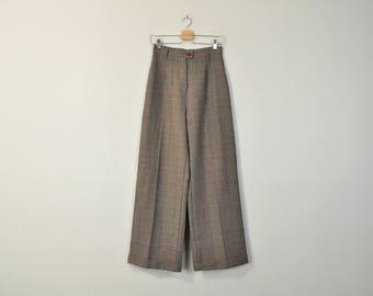 Wide Leg Trousers, Vintage 90s Pants, 90s Plaid Pants, Tartan Trousers, 90s Dress Pants, Hight Waisted Pants, High Waist Trousers Size 6/8