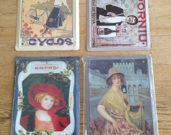 Set of 4 Reproduction Spanish Advertising Plaques on Tin Plate