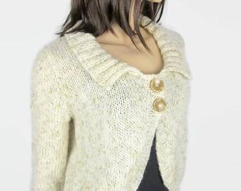SAND - Women t 40 (M) - hand knit sweater bolero shape
