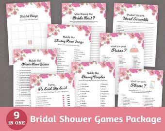 9 Bridal Shower Games Package, Pink Floral Watercolor Bundle, DIY Printables, Instant Download, Wedding Shower Activity Set, BSPKG,  A005