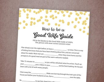 How to Be a Good Wife Guide, 1950's Good Wife, Gold Confetti Bridal Shower Games, Hens Party, Wedding Shower, Instant Download, A001