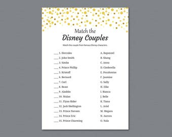 Disney Couples Match, Bridal Shower Games Printable, Gold Confetti Dots, Famous Disney Couples, Wedding Shower, Instant Download, A015