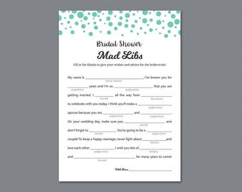 Bridal Mad Libs, Seafoam Green Dots Confetti, Wedding Mad Libs, Bachelorette Hen Party Games, Bridal Shower Games, Advice for Bride, BSG18