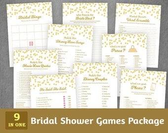 Bridal Shower Games Bundle Set, Gold Bridal Games Package, Bingo, Disney Movie Quotes, Songs Match, Whats on your Phone, Purse, BSPKG, A002