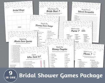 Bridal Shower Games Package, Silver Confetti Dots, Bridal Shower, Fun Games Set, Instant Download, Game Pack, Shower Bundle, BSPKG, A020