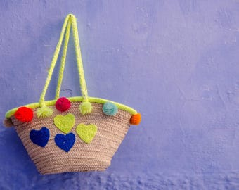 Blue Bags, Moroccan bag, straw basket, blue bag basket, summer Bag, Tassel Beach Bag