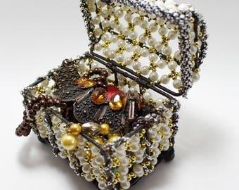 Jewelry Box, Pearl Beaded Crate, Necklace Box, Ring Box, Bracelet Box, Jewellery Basket