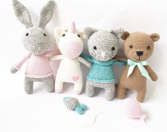 4 PATTERNS - Gusto & Friends - amigurumi pattern, crochet pattern, PDF