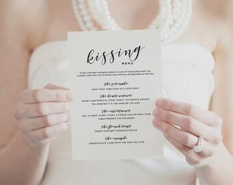 Printable Kissing Menu Template, Printable Wedding Games, Wedding Kissing Menu, Wedding Table Games, Kissing Menu Printable - KPC01_408