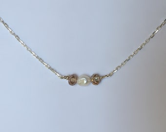 Mother of Pearl and Champaign Crystal Dainty Silver Necklace