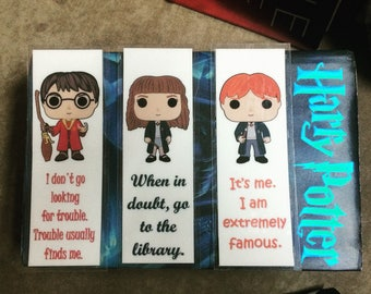 Harry Potter , Hermione Granger, Ron Weasley Quotes Laminated Bookmarks Pack of 3