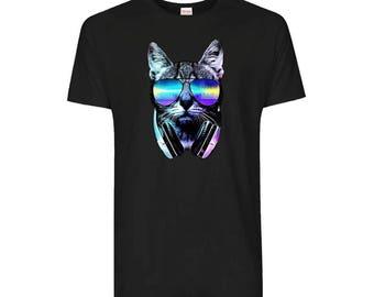 Dj Cat With Retro Cool Glasses And Headphone Funny T-Shirt (Main Colour - Black, Size - Medium)