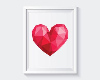 Heart Low Poly Printable Art, Geometric Heart Poster, Heart Print, Abstract Poster, Digital Download, Polygonal, Love Print, Nursery Decor