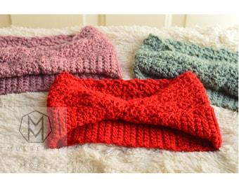 Bunch Headband- Woman's Crochet headband, Red, Blue, Pink Fall, Winter, Wool/Acrylic Blend. Head wrap, Multi-colors